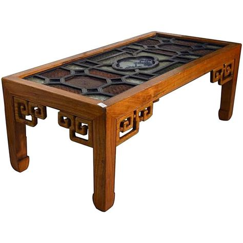 Stained Coffee Table Antique Coffee Table With Stained Glass Top For Sale At 1stdibs