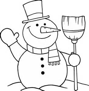 Coloring page of snowman holding a broom for kids png