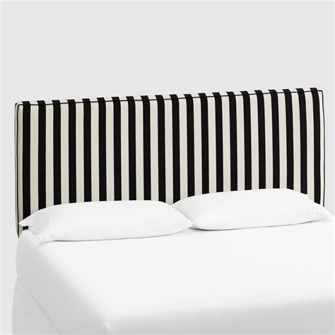 Cost Plus World Market Canopy Stripe Loran Upholstered Black And White Striped Headboard