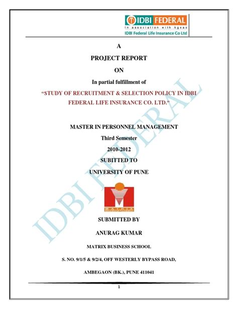 Mba Project Report On Idbi Federal by Idbi Federal Project Report Sling Statistics