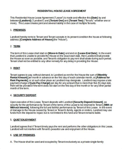 house lease agreement printable residential lease agreement 13 free word pdf documents download free