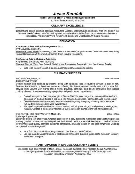 resume exle professional culinary resume 28 images