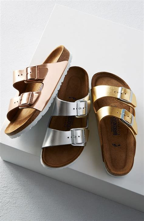 birkenstock sandals trend adding a metallic twist to these classic birkenstock
