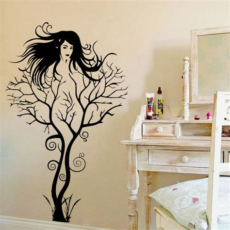 home interiors wall decor creative sexy girl tree removable wall sticker decal home