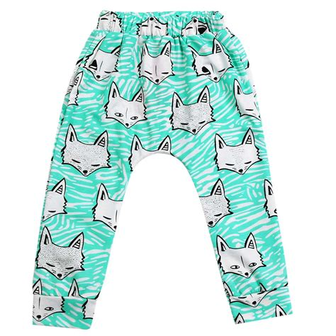 baby boy pant toddler cotton animal pp fox printed trousers blue in from