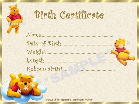 Reborn Birth Certificate Template by Winnie The Pooh Birth Certificate Certificates 4 Reborn