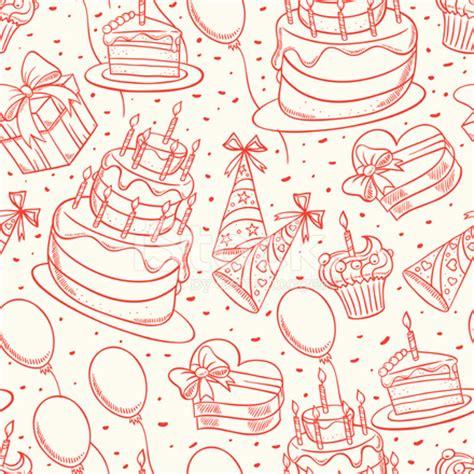 cute birthday sketch seamless background stock vector