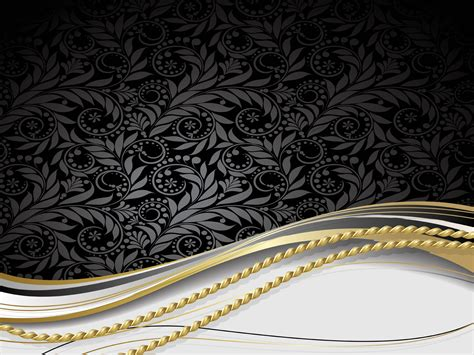 Black Golden Floral PPT Backgrounds   Abstract, Black