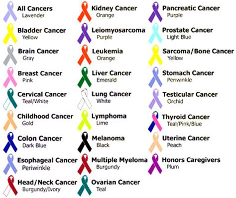 cancer ribbon color chart 7 best images of printable cancer awareness color chart