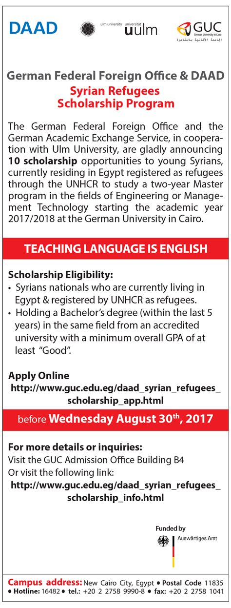 Ulm Mba Scholarships by German In Cairo Syrian Refugees Scholarship