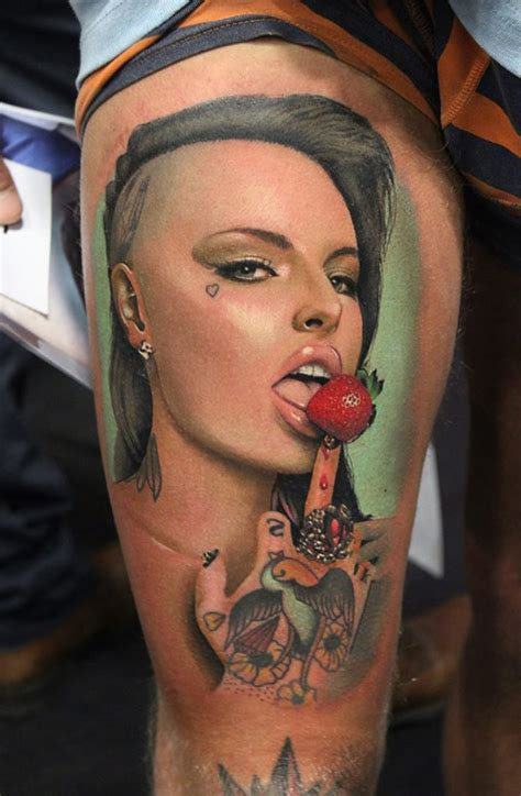 realistic portrait thigh tattoo best tattoo design ideas