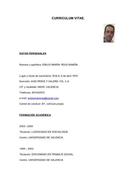 Ejemplo De Curriculum Primer Trabajo Curriculum Vitae Funciones Y Cursos Trabajo Social Y Sociologia Emili