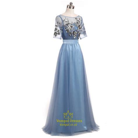 light blue floor length dress light blue short sleeve floor length prom dress with