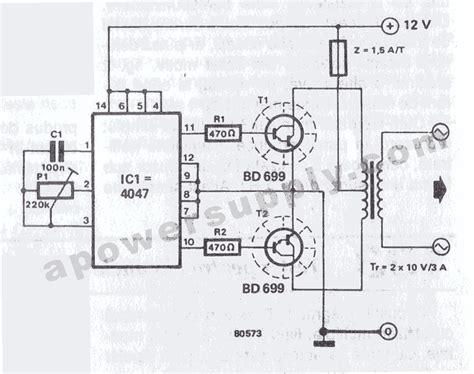 berbagi ilmu rangkaian inverter 12v dc to 220v ac 100 12vdc 220vac inverter using cmos cd4047 koleksi skema