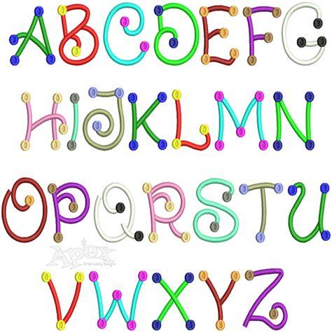 color fonts script polka dots two color embroidery font
