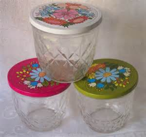 quilted jelly jars and metal lids flower