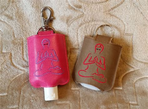 ith yoga hand sanitizer holder snap tab  hoop machine embroidery
