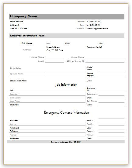 39 personal information form template doc 8501100 info sheet