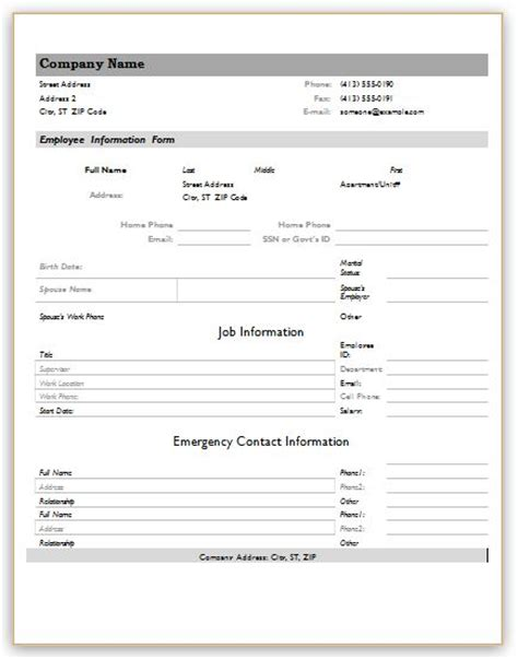 employee information forms for ms word excel word