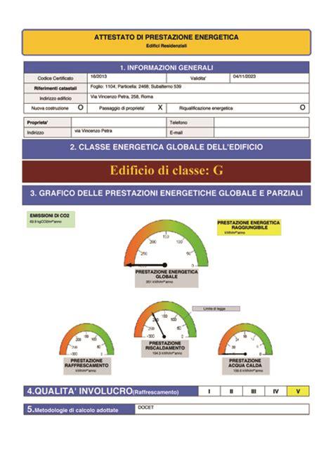 esempio certificazione energetica appartamento certificazione energetica