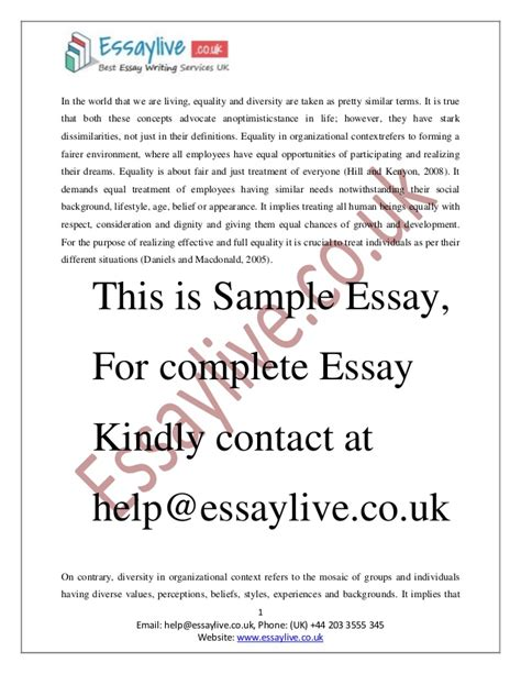 Inclusion Essay by Equality And Diversity Essay Sle