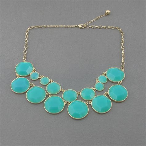 Light Blue Bubble Statement Necklace Holiday Party