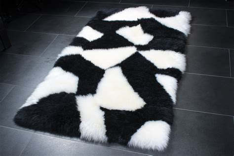black sheepskin rug sheepskin rug in black white