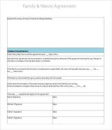 nanny contract template free 10 sle nanny contract templates free sle exle