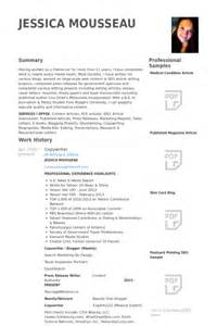 Copywriter Resume Exles by Copywriter Resume Sles Visualcv Resume Sles Database