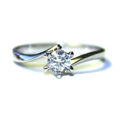 Solitaire Rings by Curved Solitaire Promise Ring White Cubic