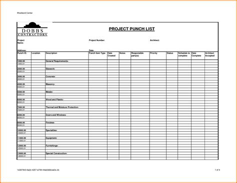 Construction Project Punch List Template To Do List Template Punch List Template Excel