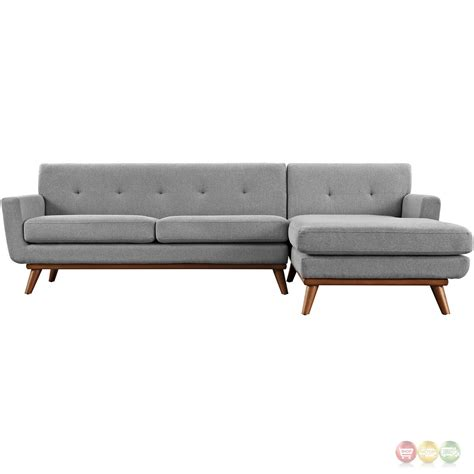 gray chaise sofa engage contemporary right facing chaise sectional sofa w