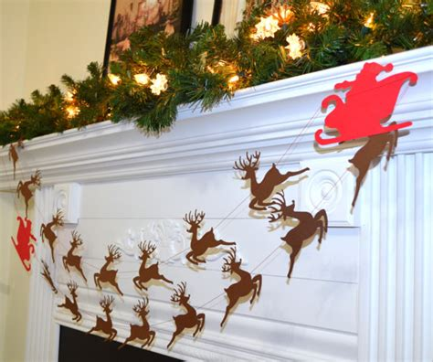 santa s sleigh and reindeer garland rudolph and santa