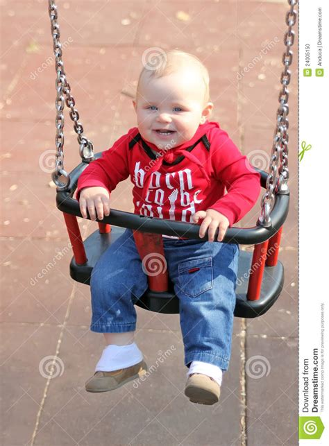baby on swing baby on a swing stock photo image 24005150