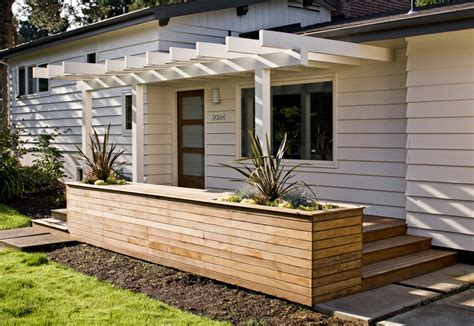 modern indoor planters Exterior Midcentury with clean deck