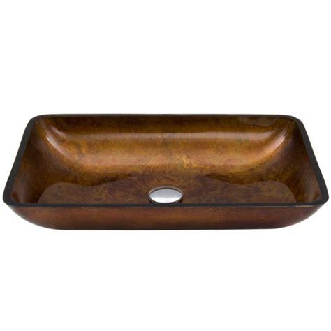 vigo russet glass vessel sink vigo rectangular glass vessel sink in russet glass vg07047