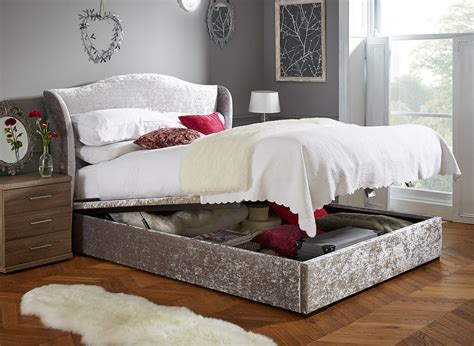 Dreams Bedroom Furniture Showan Silver Crushed Velvet Ottoman Bed Frame Dreams