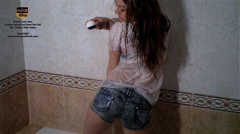 Shower Shorts by Wetlook In Shorts And White Blouse In The Shower