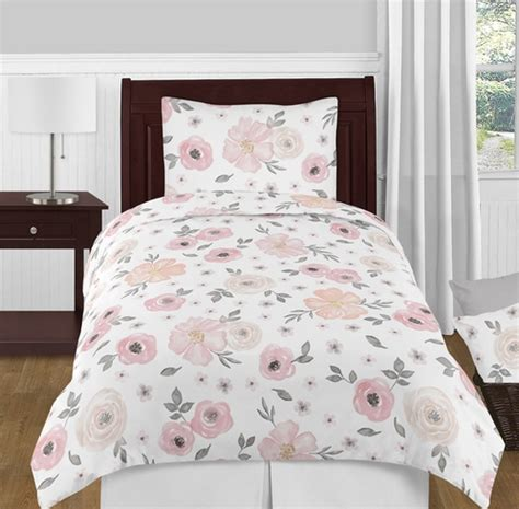 blush pink grey and white shabby chic watercolor floral girl twin kid childrens bedding