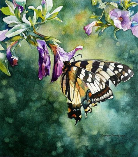 butterfly and flowers painting original watercolor