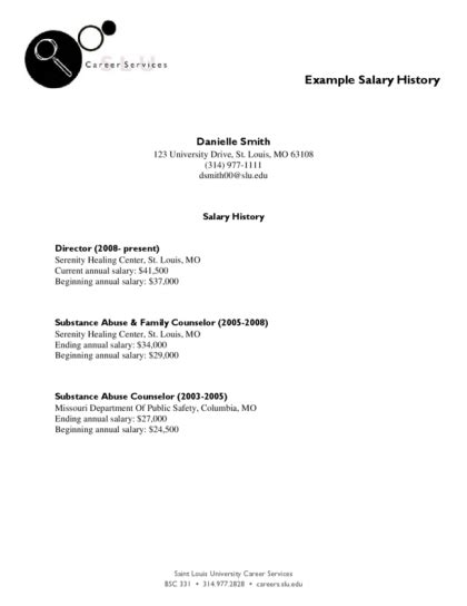 cover letter with salary history salary history legalforms org