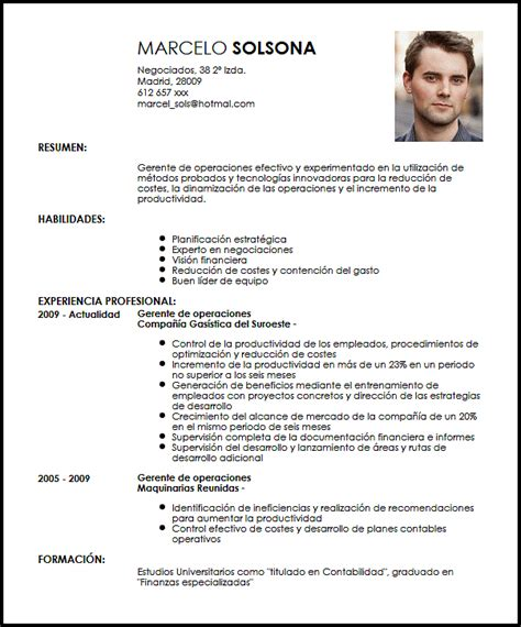 Modelo Curriculum Vitae Director Financiero Modelo Cv Gerente De Operaciones Livecareer