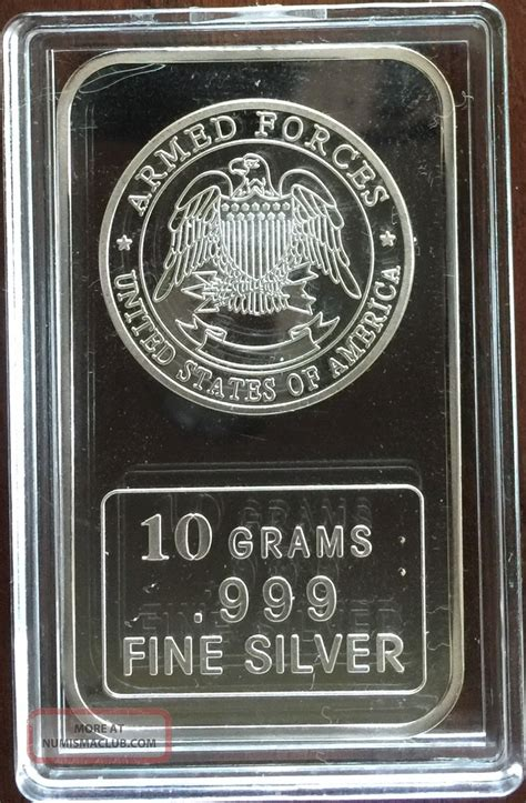 10 Gram Silver Bars by Silver Bar 10 Grams 999 Silver U S Armed Forces