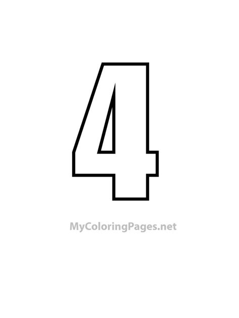 4 color print free coloring pages of number 4