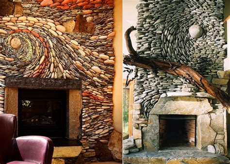 How Much To Build A Small Cabin couple creates swirling rock wall murals for both indoors