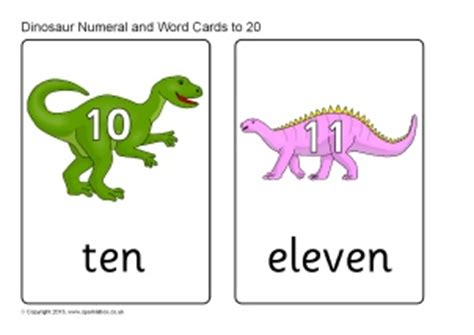 numbers  dinosaurs posters flash cards printables