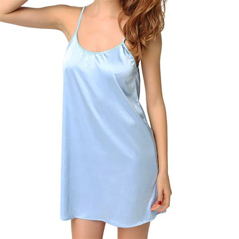 Dress Sleepwear Satin womens black satin chemise gown dress nightgown sleepwear