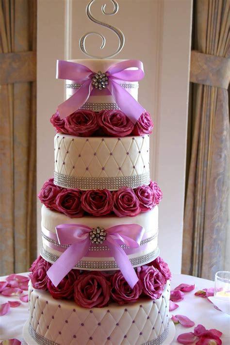 Wedding Cakes by Wedding Cake Pink And Fuschia With Bow And Roses A Sweet