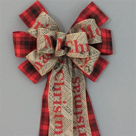 merry christmas newsprint red black plaid bow  package perfect bows