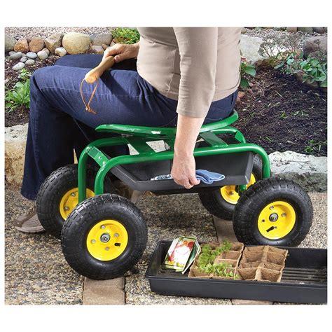 metal rolling garden stool castlecreek rolling garden seat with built in tray